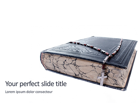 Holy Bible with Rosary Beads Presentation Presentation Template, Master Slide