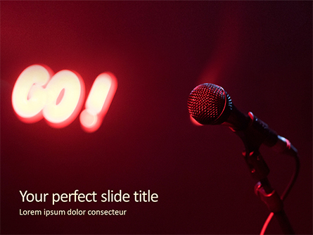Microphone on a Stand Up Comedy Stage Presentation Presentation Template, Master Slide