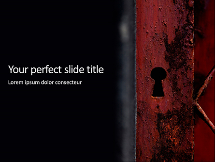 Keyhole in a Rusty Gate Presentation Presentation Template, Master Slide