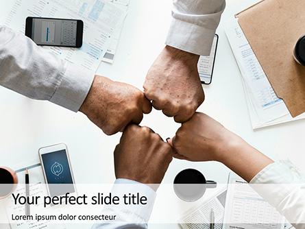Four Fist Bump in Business Meeting Presentation Presentation Template, Master Slide