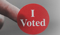 I Voted Sticker on a Man's Finger Presentation Presentation Template