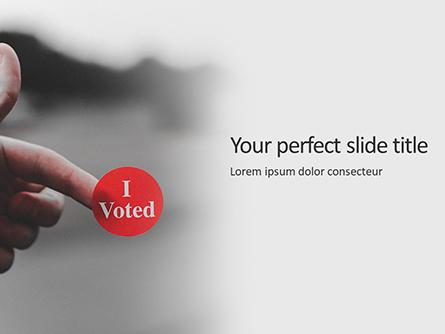 I Voted Sticker on a Man's Finger Presentation Presentation Template, Master Slide