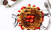 Belgium Waffles with Chocolate Sauce and Strawberries Presentation Presentation Template