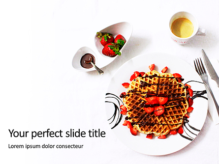 Belgium Waffles with Chocolate Sauce and Strawberries Presentation Presentation Template, Master Slide