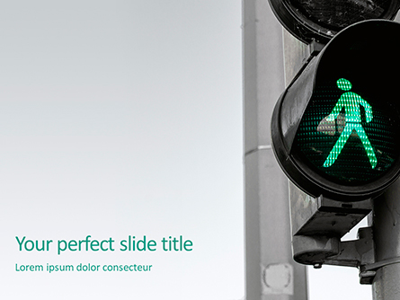 Green Pedestrian Traffic Light Presentation Presentation Template, Master Slide