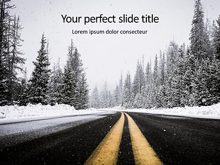 Low Angle View of Stripes on Snowy Mountain Road Presentation Presentation Template, Master Slide