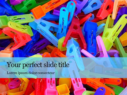 Multi-Colored Plastic Clothespins Presentation Presentation Template, Master Slide