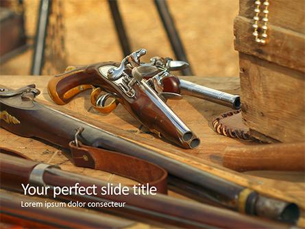 Old Wooden Guns and Pistols Presentation Presentation Template, Master Slide