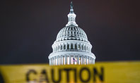 US Capitol Hill During Nighttime with Caution Tape Presentation Presentation Template
