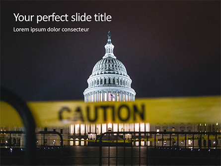 US Capitol Hill During Nighttime with Caution Tape Presentation Presentation Template, Master Slide