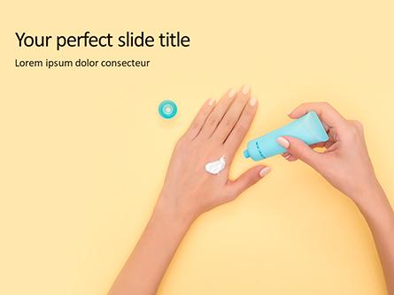 Female Hand Holding Cream Tube Presentation Presentation Template, Master Slide