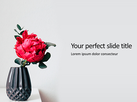 Beautiful Red Flower in Vase Presentation Presentation Template, Master Slide