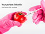 GMO Scientist Injecting Liquid from Syringe into Tomato Presentation slide 1
