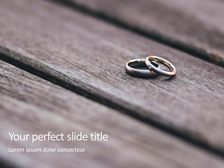 Two Wedding Rings on Wooden Surface Presentation Presentation Template, Master Slide