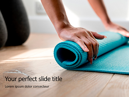 Young Yoga Woman Rolling Her Green Mat Presentation Presentation Template, Master Slide