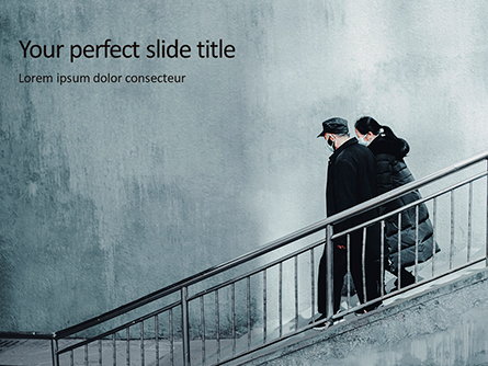 Couple Goes Down the Stairs Presentation Presentation Template, Master Slide