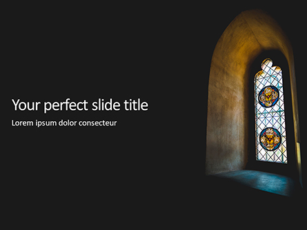 Stained Glass Window in Dark Room Presentation Presentation Template, Master Slide