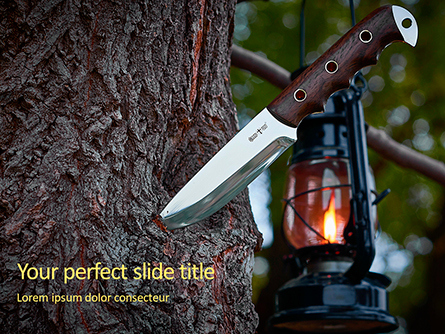 Knife in a Tree Trunk Presentation Presentation Template, Master Slide