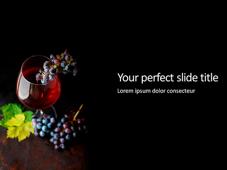 A Glass of Red Wine and Grapes Presentation Presentation Template, Master Slide