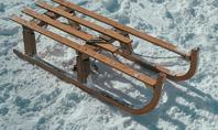 Wooden Sled on Snow Presentation Presentation Template
