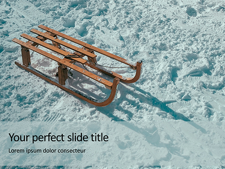 Wooden Sled on Snow Presentation Presentation Template, Master Slide