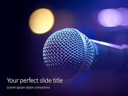 Close Up of Microphone in Concert Hall with Blurred Lights Presentation Presentation Template, Master Slide