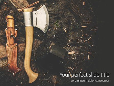 Ax and Knife Camping Tools on Ground Presentation Presentation Template, Master Slide